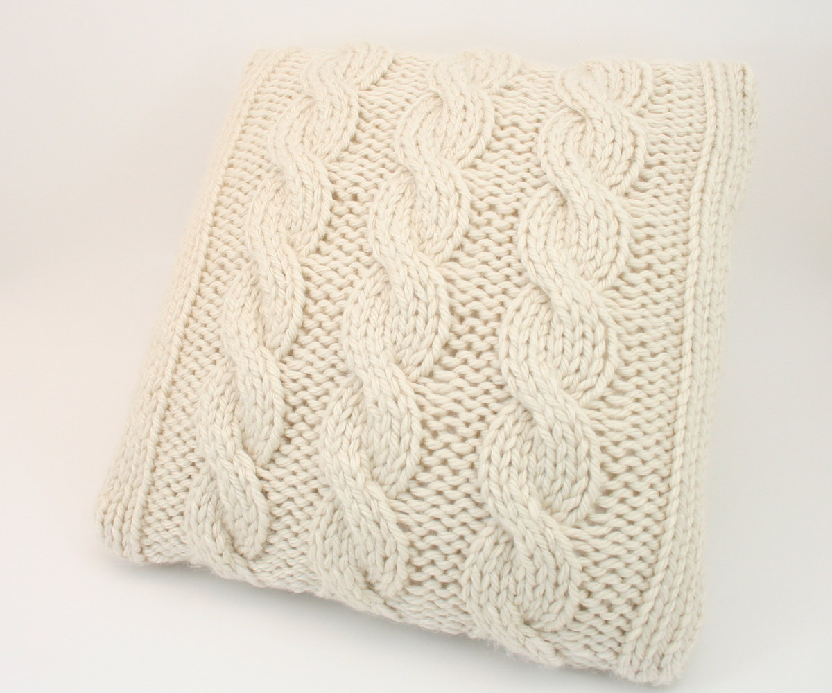 Free Cushion Knitting Patterns Pillow Cover Knitting Pattern Cabled Pillow Cover