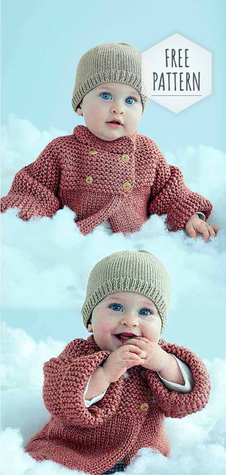Free Double Knit Baby Cardigan Patterns Double Breasted Cardigan And Cap