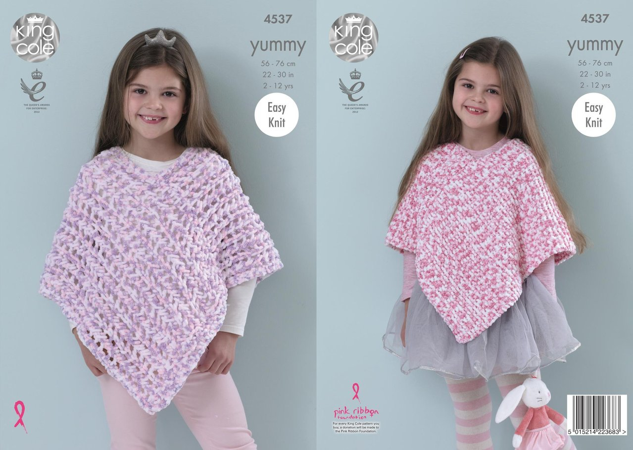 Free Easy Baby Poncho Knitting Pattern King Cole 4537 Knitting Pattern Girls Ponchos To Knit In King Cole Yummy