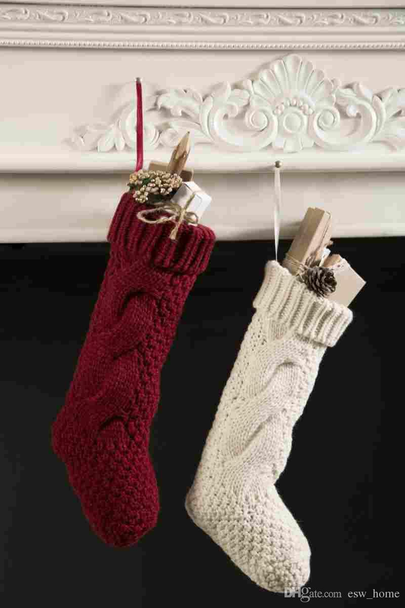 Free Knit Christmas Stocking Pattern Christmas Party Santa Claus Elf Shoe Boots Candy Gifts Bag Stocking Xmas Knitted Crochet Thigh High Stockings Gift
