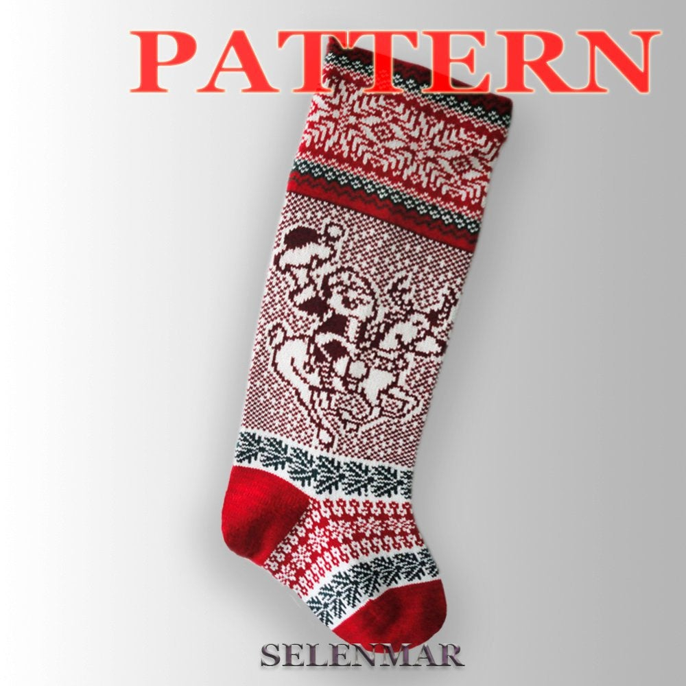 Free Knit Christmas Stocking Pattern Knitted Christmas Stocking Pattern Santa Claus And Christmas Deer Pattern Sock Fair Islepdf Pattern A34 Free Shipping