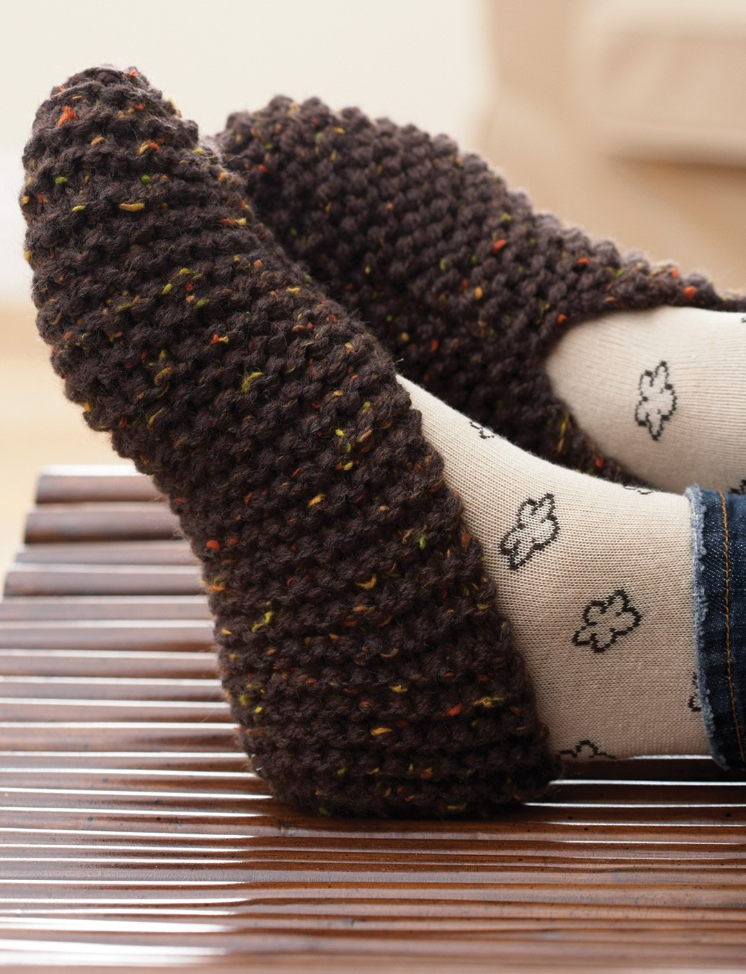 Free Knit Slipper Pattern Free Knitting Patterns For Bed Socks