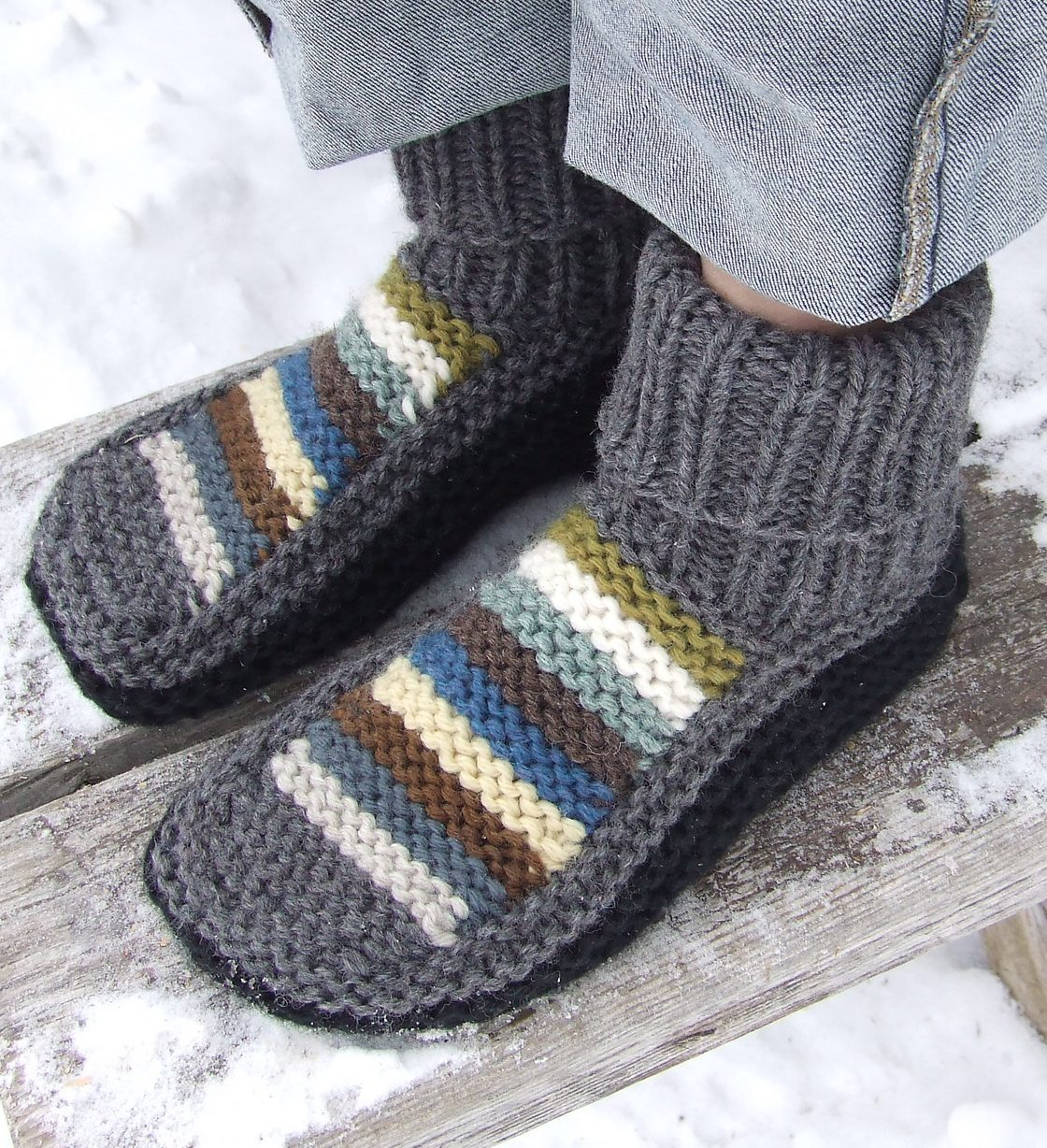 Free Knit Slipper Pattern Free Knitting Slipper Patterns For Adults