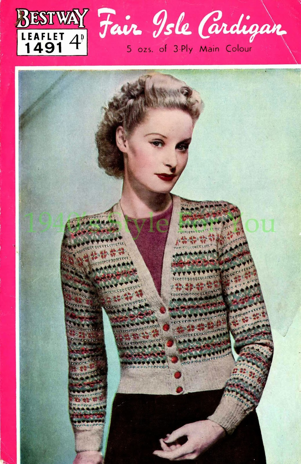 Free Knitted Cardigan Patterns 1940s Style For You Free Knitting Pattern 1940s Fair Isle