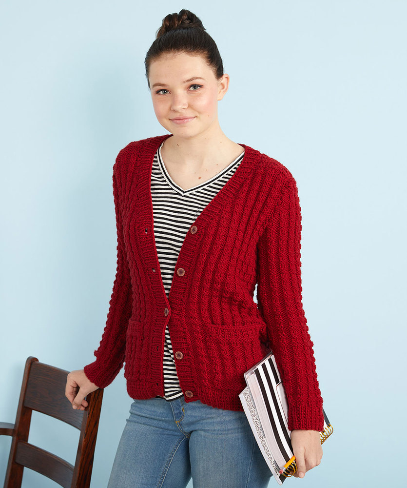 Free Knitted Cardigan Patterns Chillin Out Knit Cardigan Red Heart