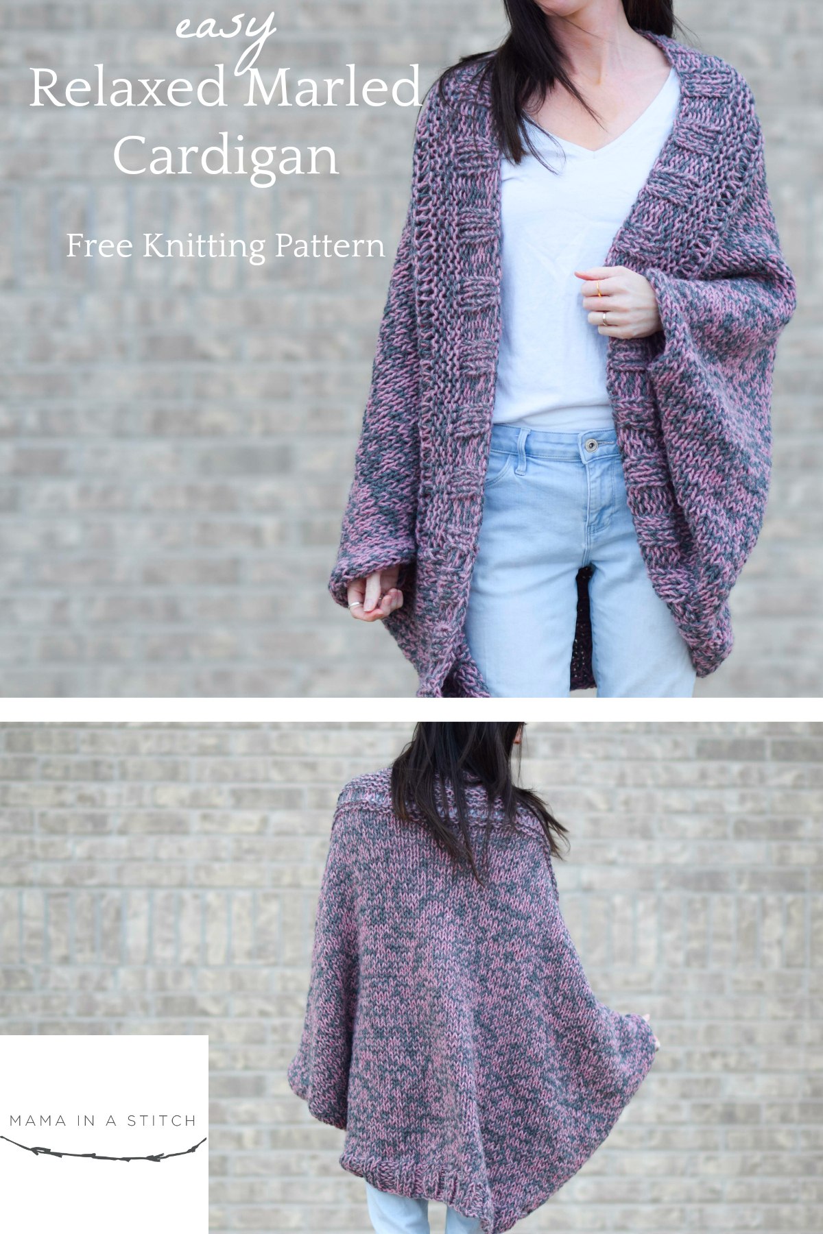 Free Knitted Cardigan Patterns Easy Relaxed Marled Cardigan Knitting Pattern Mama In A Stitch