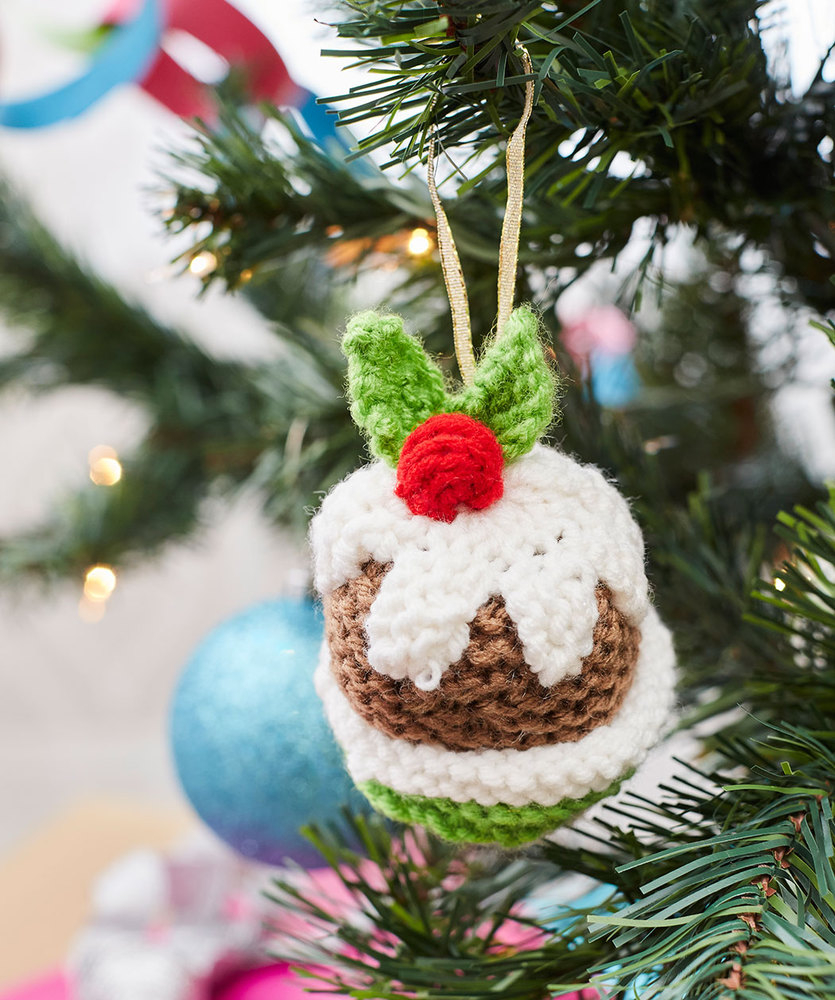 Free Knitted Christmas Tree Decorations Patterns Christmas Pudding Ornament Red Heart
