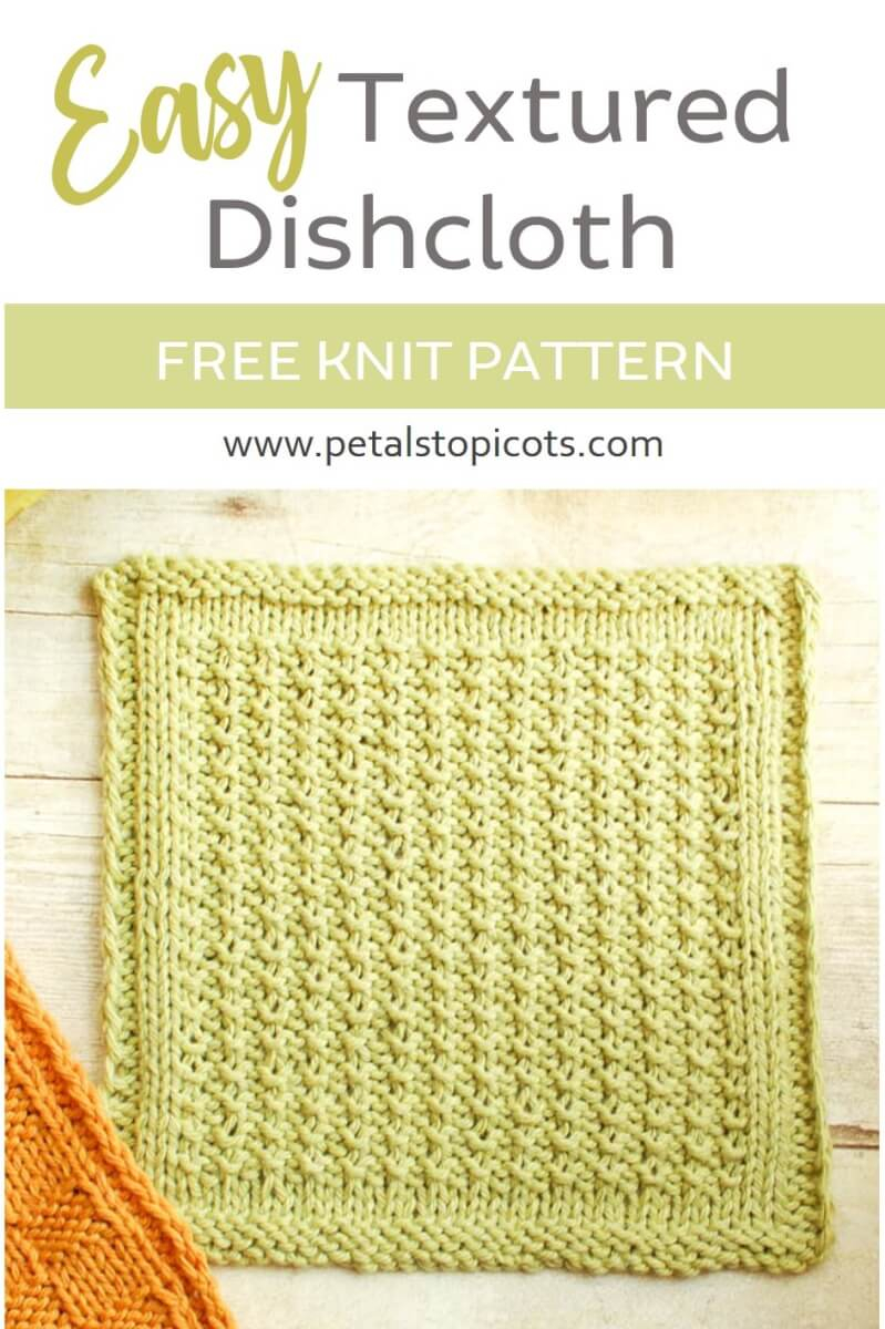 Free Knitted Cotton Dishcloth Patterns Textured Easy Knit Dishcloth Pattern Petals To Picots
