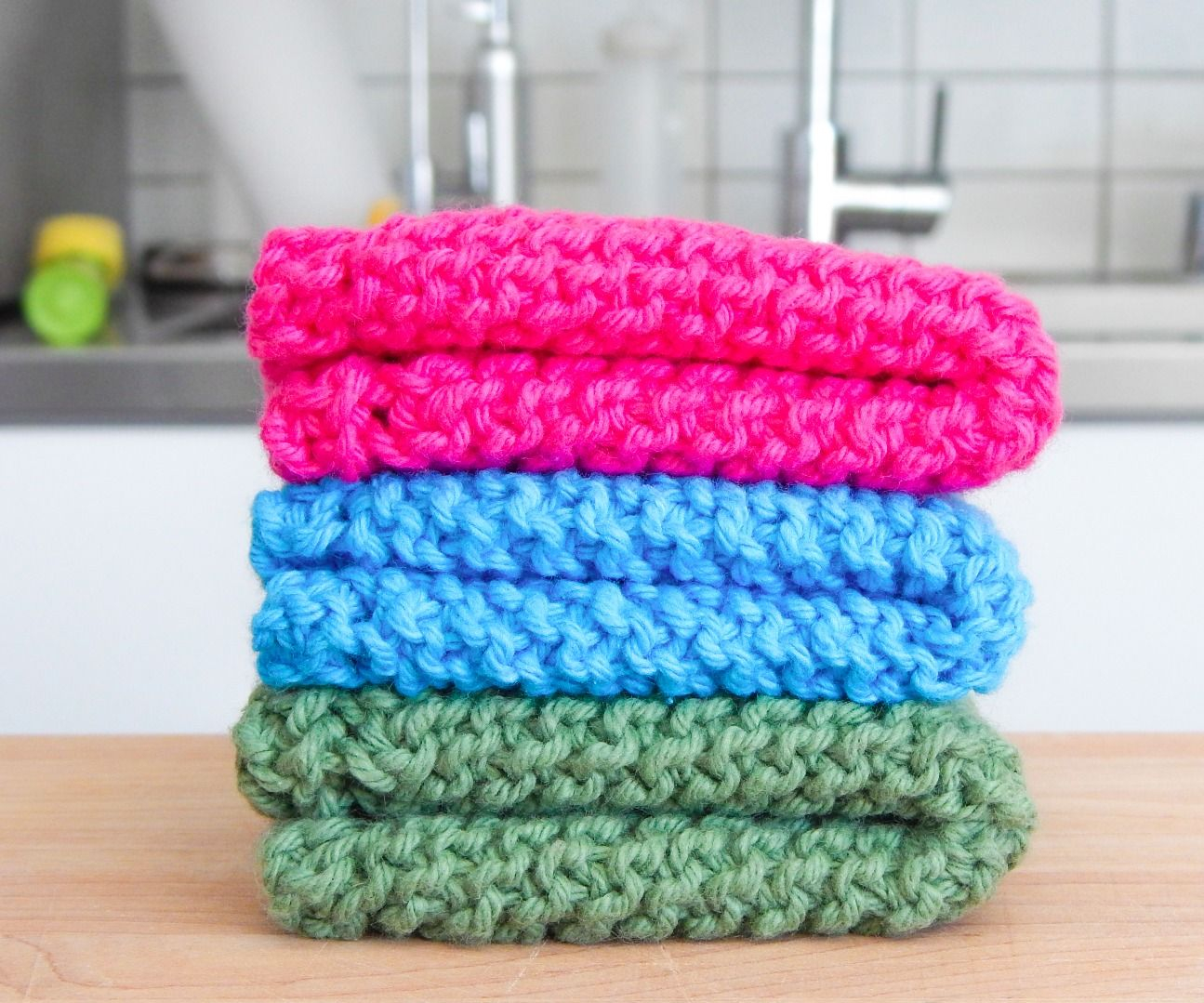 Free Knitted Dishcloth Pattern Easy Knit Dishcloth Washcloth 3 Steps With Pictures