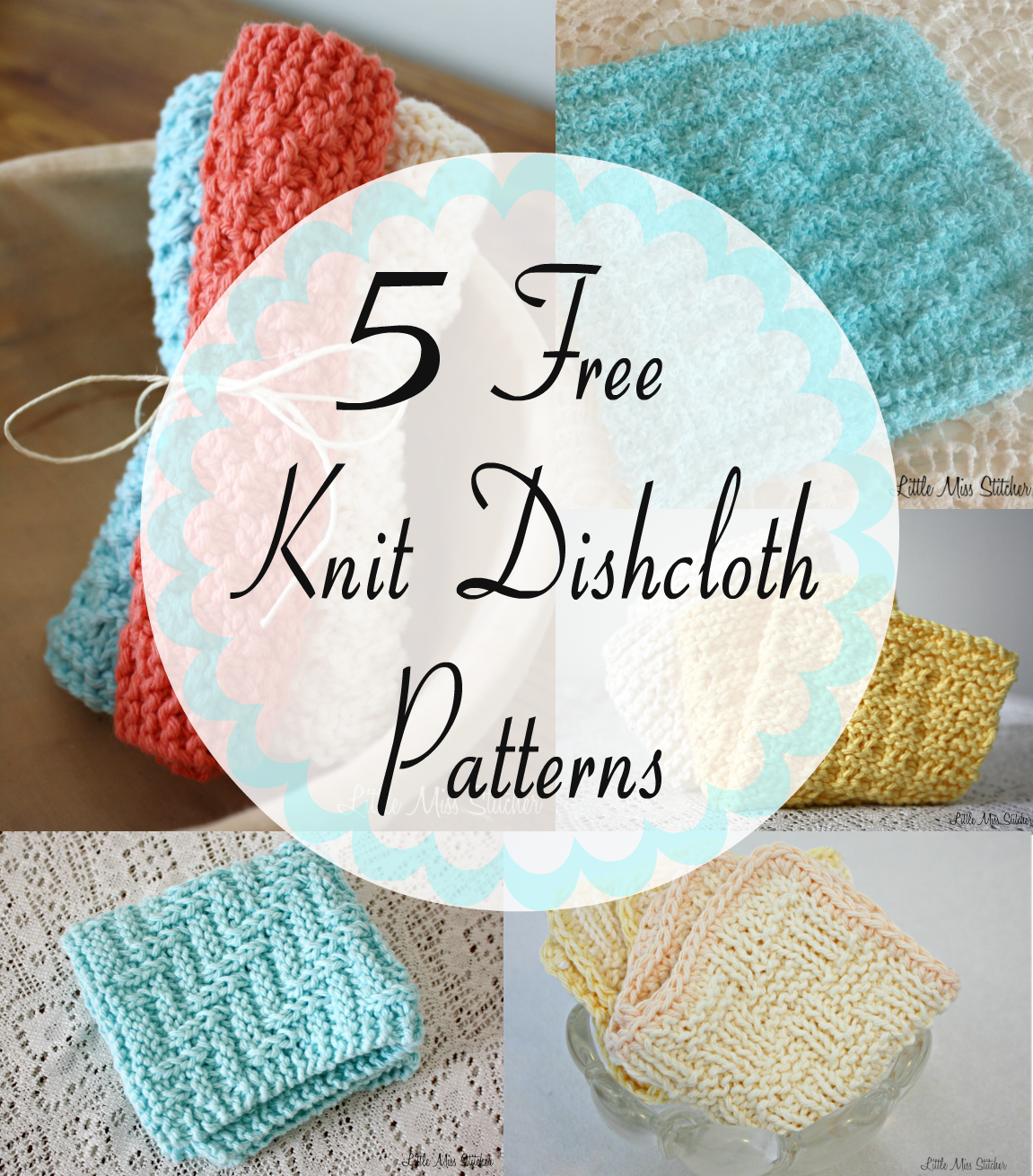 Free Knitted Dishcloth Pattern Little Miss Stitcher 5 Free Knit Dishcloth Patterns