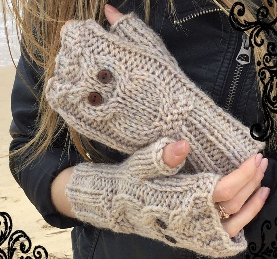 Free Knitted Glove Patterns Owl Fingerless Mitts Knitting Pattern 2yrs To Large Adult Chunky