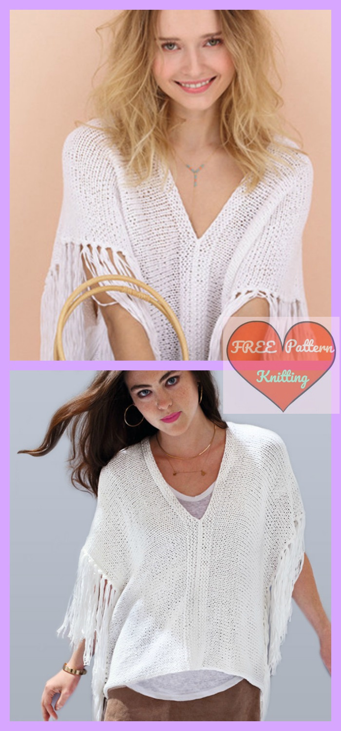 Free Knitted Top Patterns Free Knitting Summer Poncho Top Pattern Freeknit
