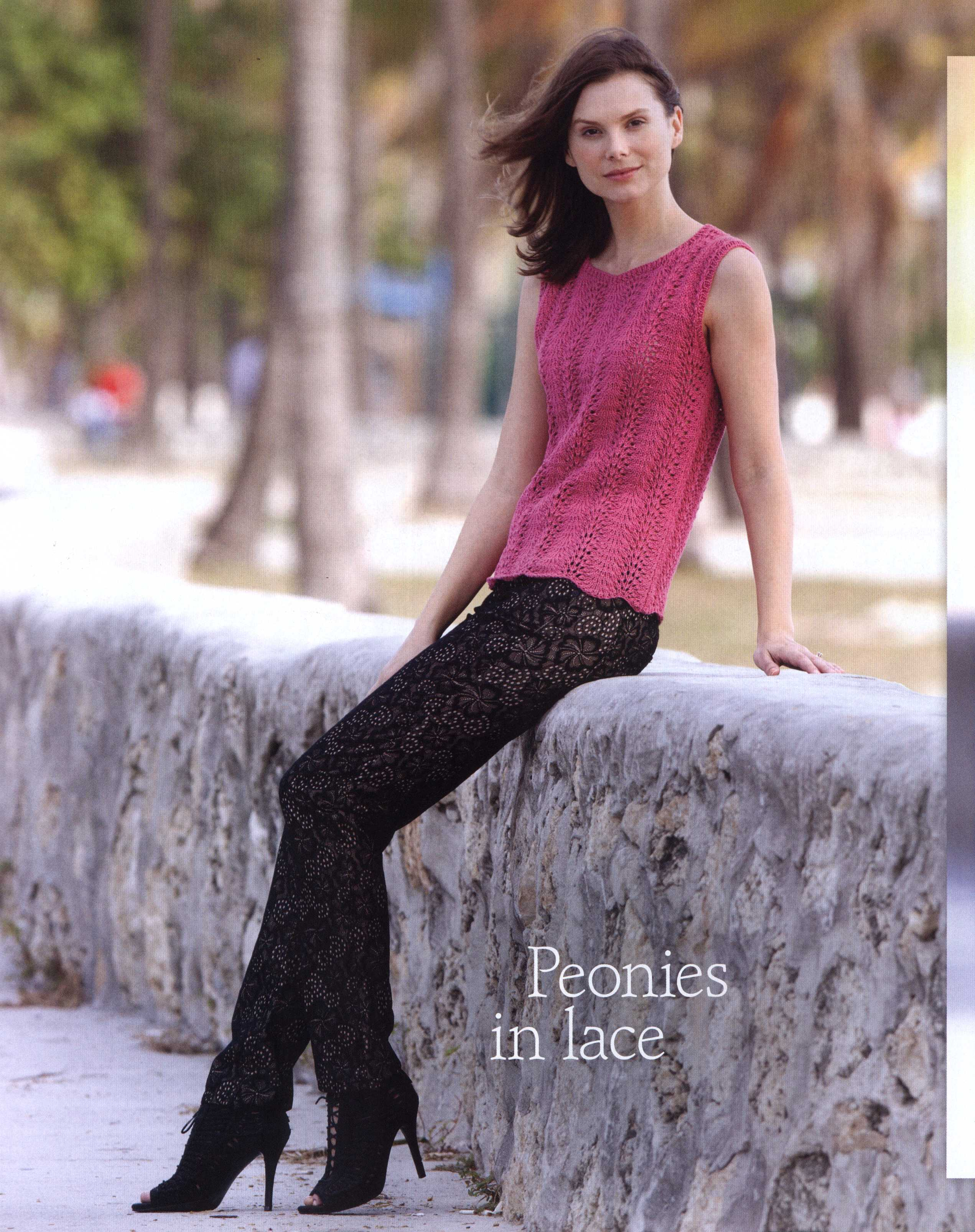 Free Knitted Top Patterns Lace Peonies Top Knitting Free