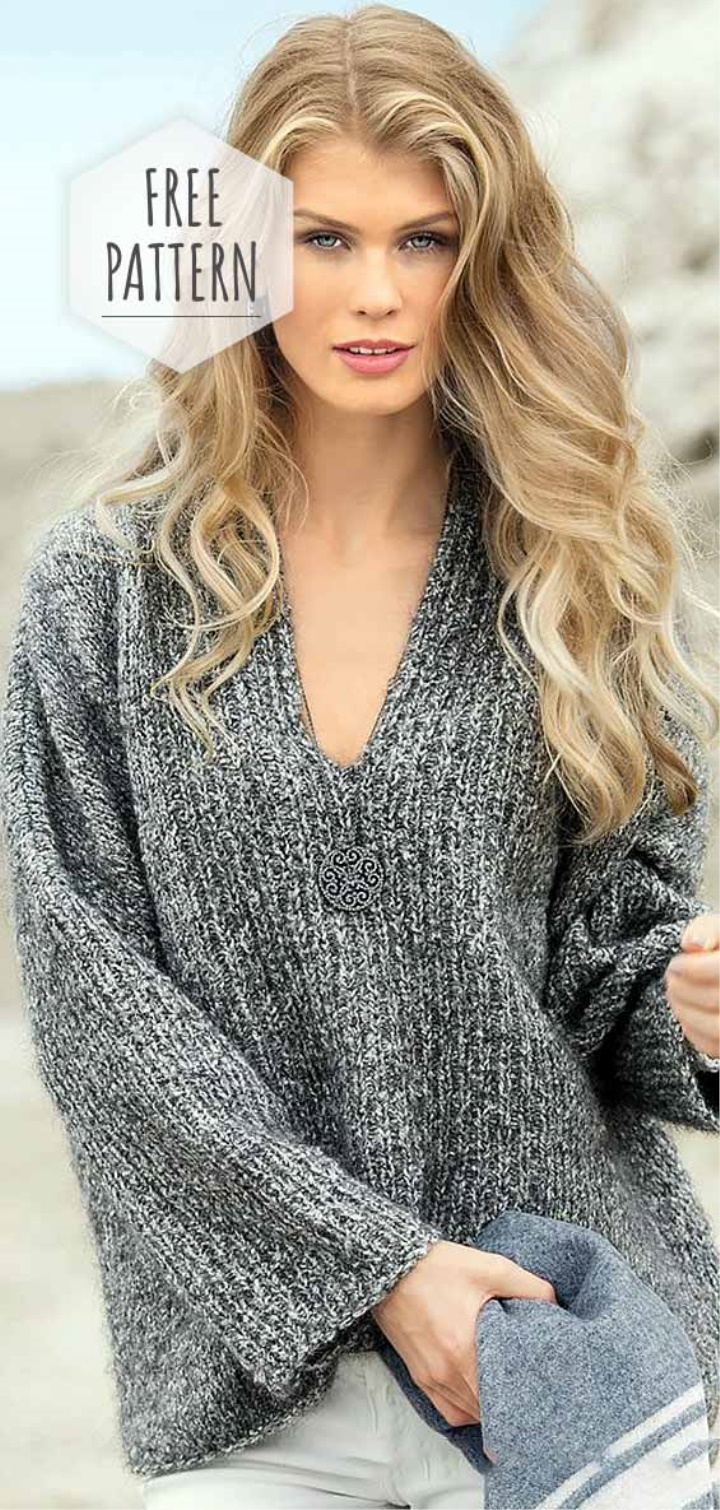 Free Knitted Top Patterns V Neck Knit Top Free Pattern