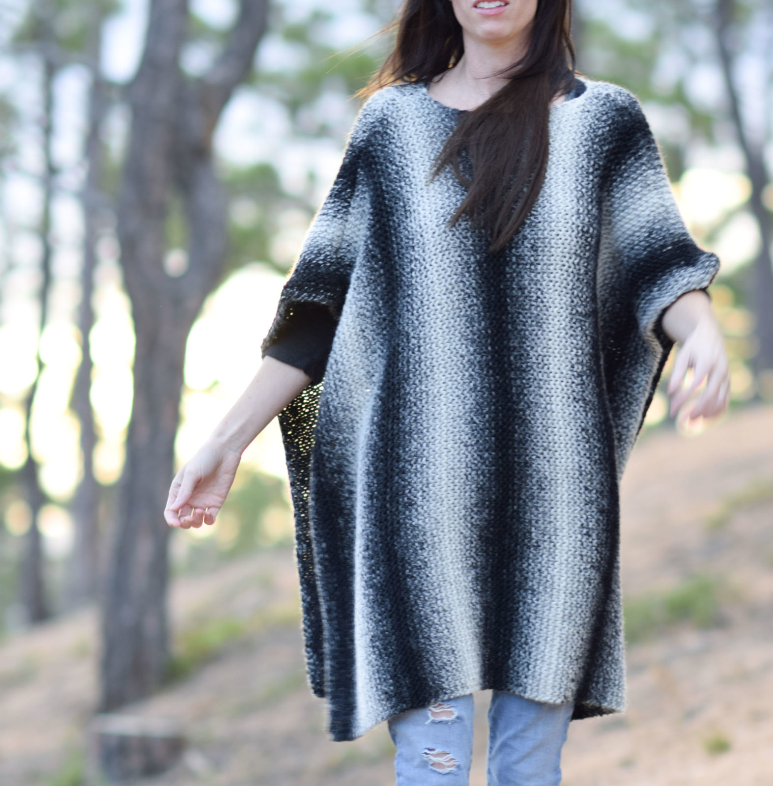 Free Knitting Pattern For A Poncho Aspen Relaxed Knit Poncho Pattern Mama In A Stitch