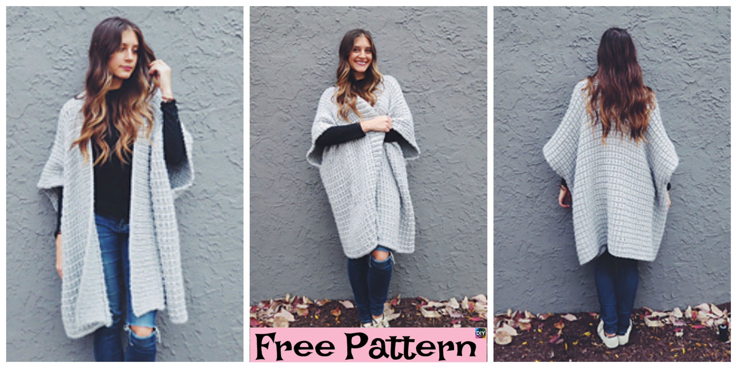 Free Knitting Pattern For A Poncho Cloaked In Clouds Knitted Poncho Free Pattern Diy 4 Ever