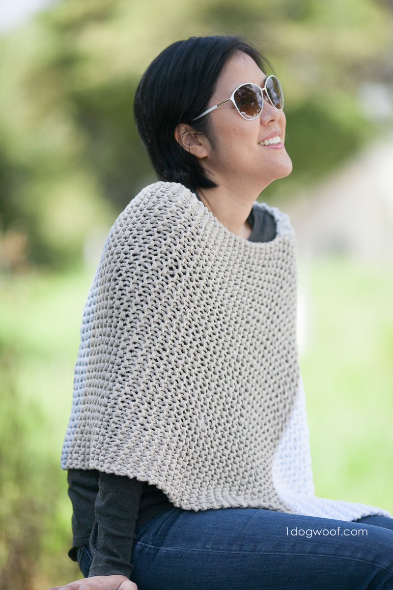 Free Knitting Pattern For A Poncho Easy Knit Catalunya Colorblock Poncho One Dog Woof
