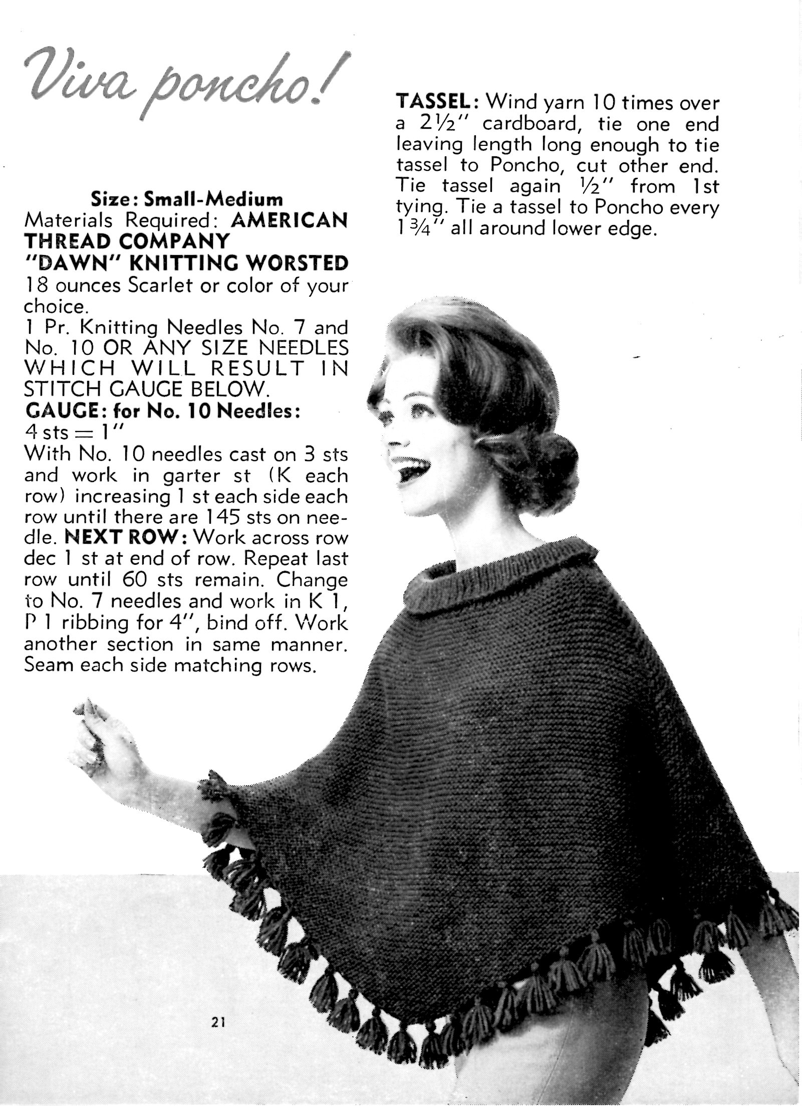 Free Knitting Pattern For A Poncho Free Beginner Knit Poncho Pattern Fun And Easy Vintage Knitting