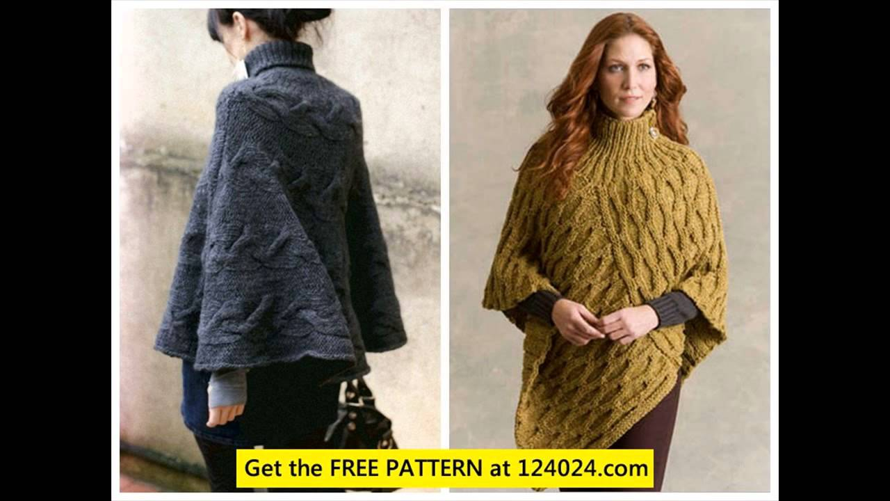 Free Knitting Pattern For A Poncho Free Poncho Knitting Patterns Knitted Ponchos Youtube