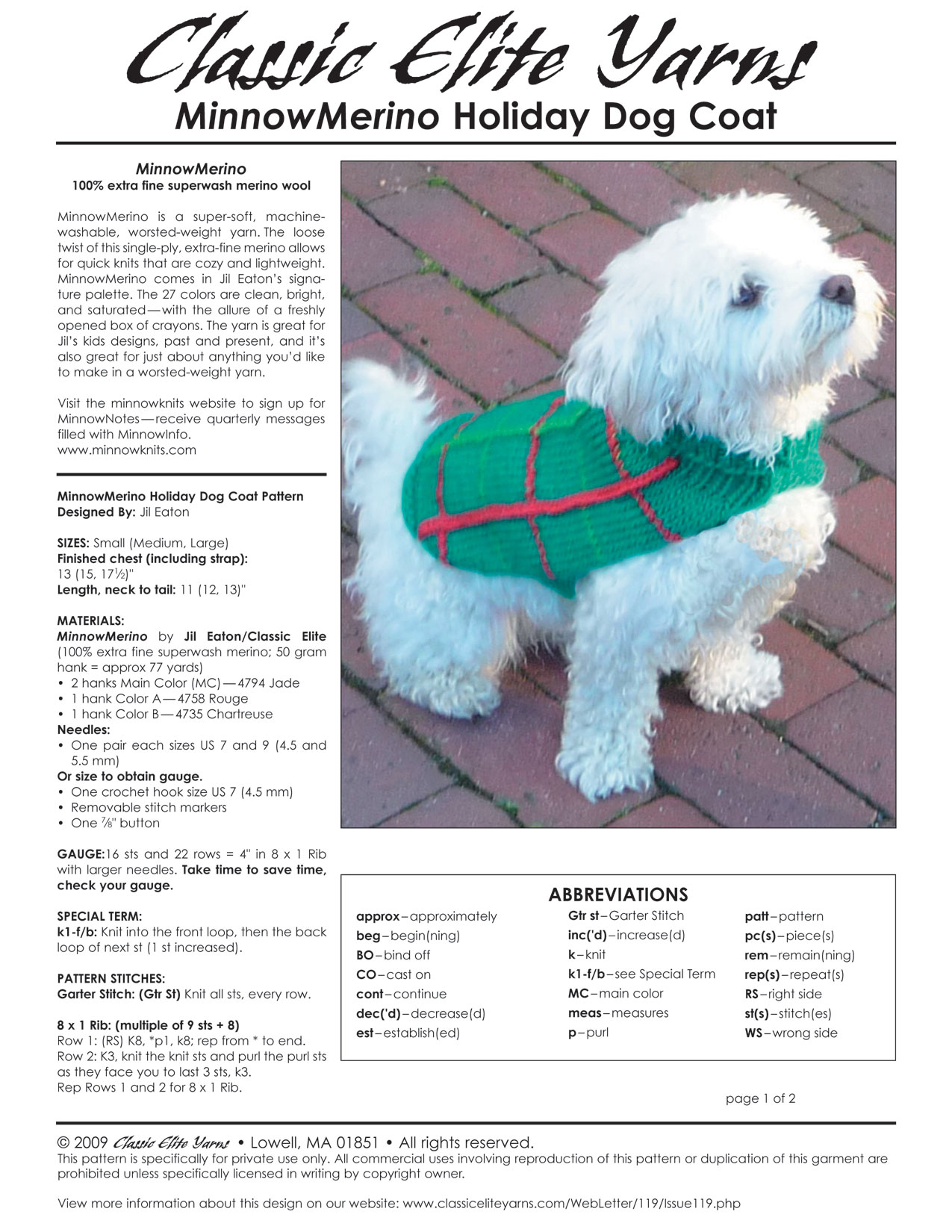 Free Knitting Pattern For Small Dog Coat Holiday Dog Coat