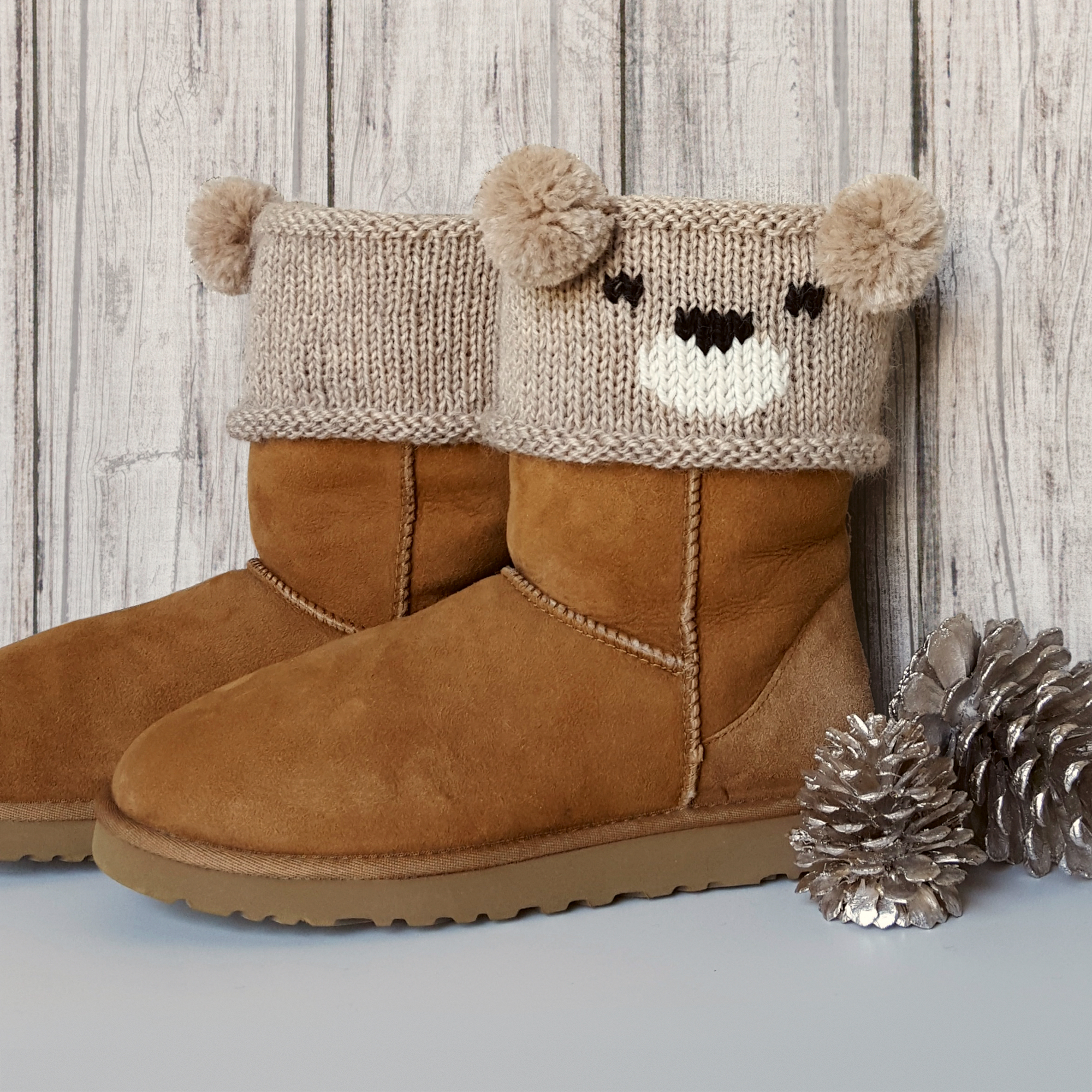Free Knitting Patterns For Boot Toppers Knit Teddy Bear Boot Toppers