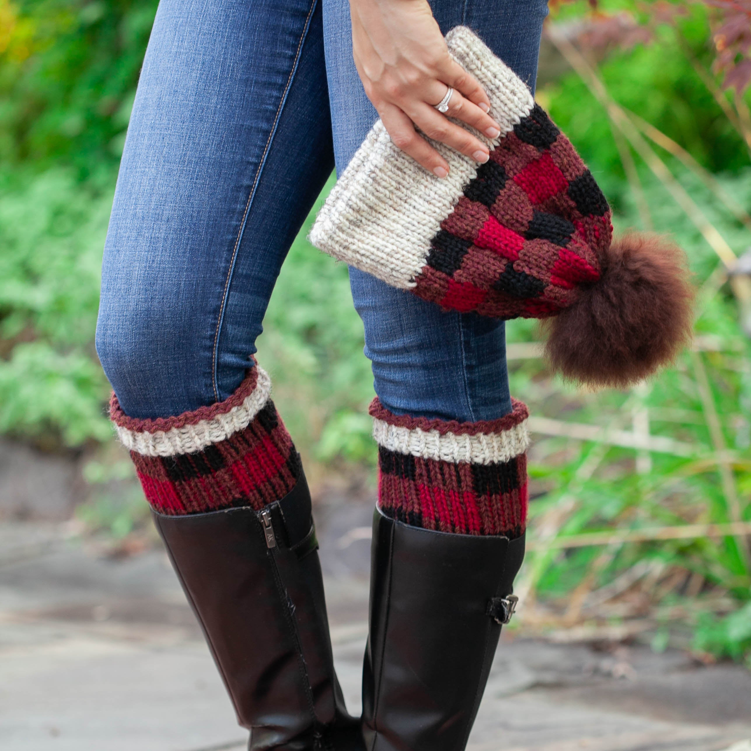 Free Knitting Patterns For Boot Toppers Loom Knit Buffalo Plaid Hat Boot Toppers Pdf Pattern Set Easy Colorwork Beginner Friendly Pattern Download This Is A Digital File