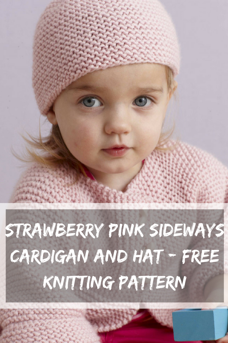Free Knitting Patterns For Boys Strawberry Pink Sideways Cardigan And Hat Free Knitting Pattern