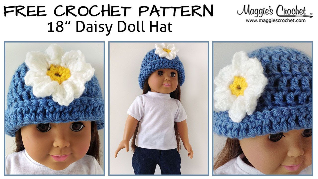 Free Knitting Patterns For Dolls Hats Daisy Hat For An 18 Doll Free Crochet Pattern Right Handed