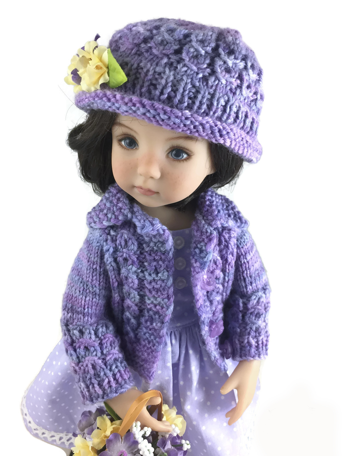Free Knitting Patterns For Dolls Hats Eyelet Cable Bundle Cardigan And Hat To Fit 13 Inch Dolls Pdf Knitting Pattern
