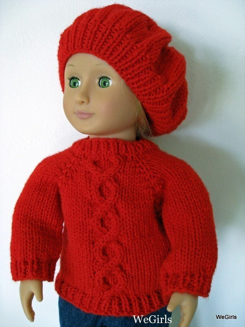Free Knitting Patterns For Dolls Hats Knitting Pattern For 18 Inch American Girl Doll Twisted Cable Sweater And Slouch Hat Instant Download Now Available