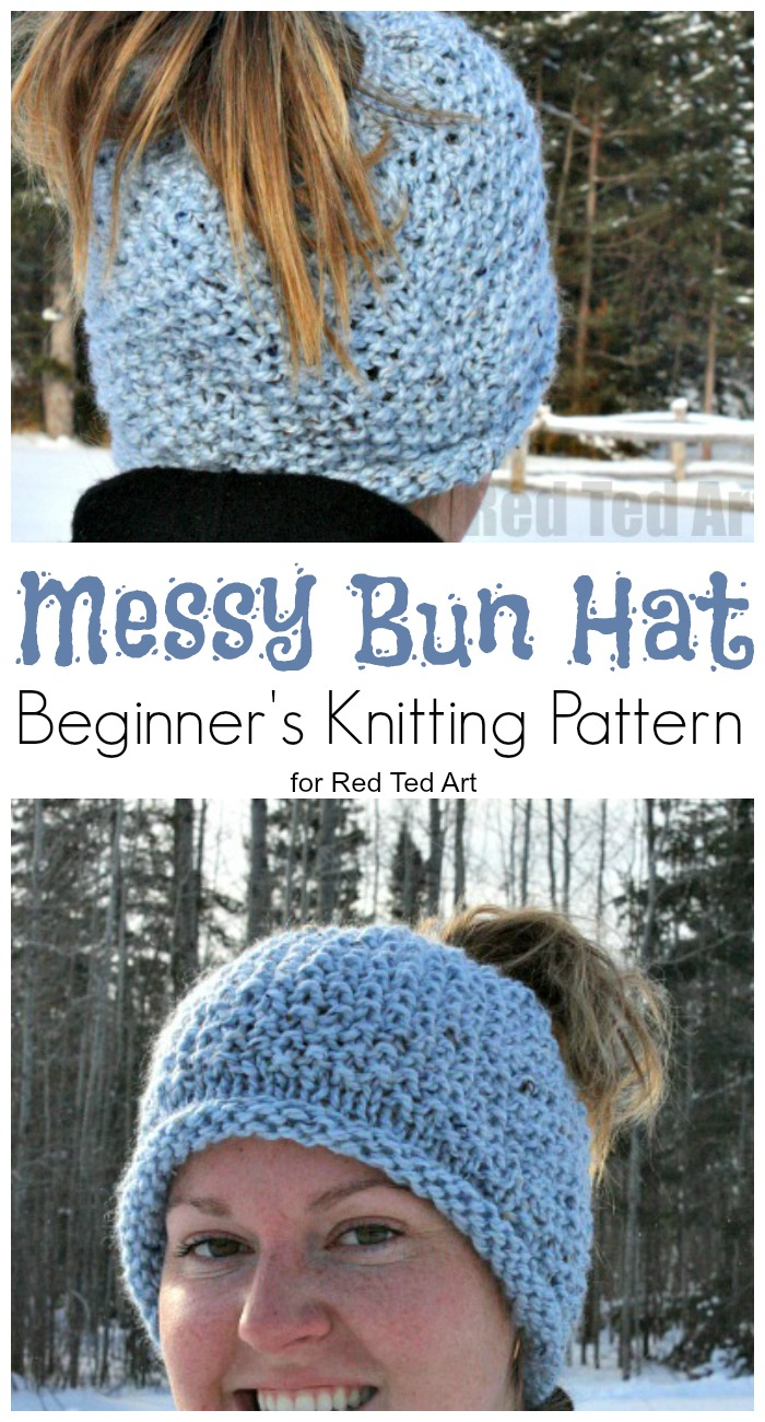 Free Knitting Patterns For Dolls Hats Seed Stitch Messy Bun Hat Free Pattern Red Ted Art