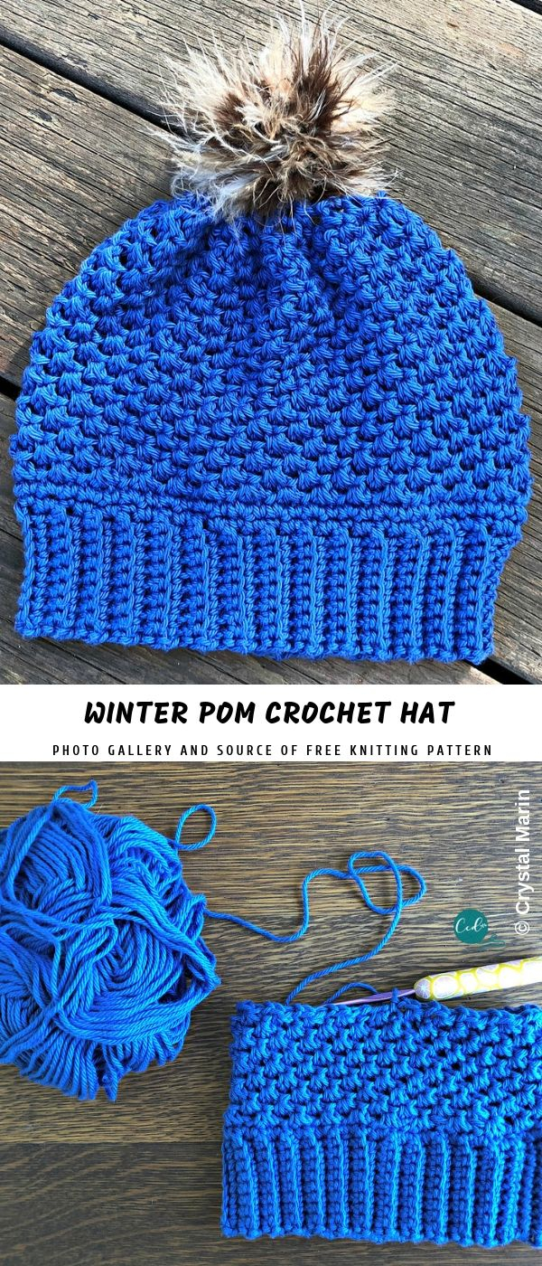 Free Knitting Patterns For Hats Uk Winter Pom Crochet Hat With Free Pattern Pattern Center Crochet