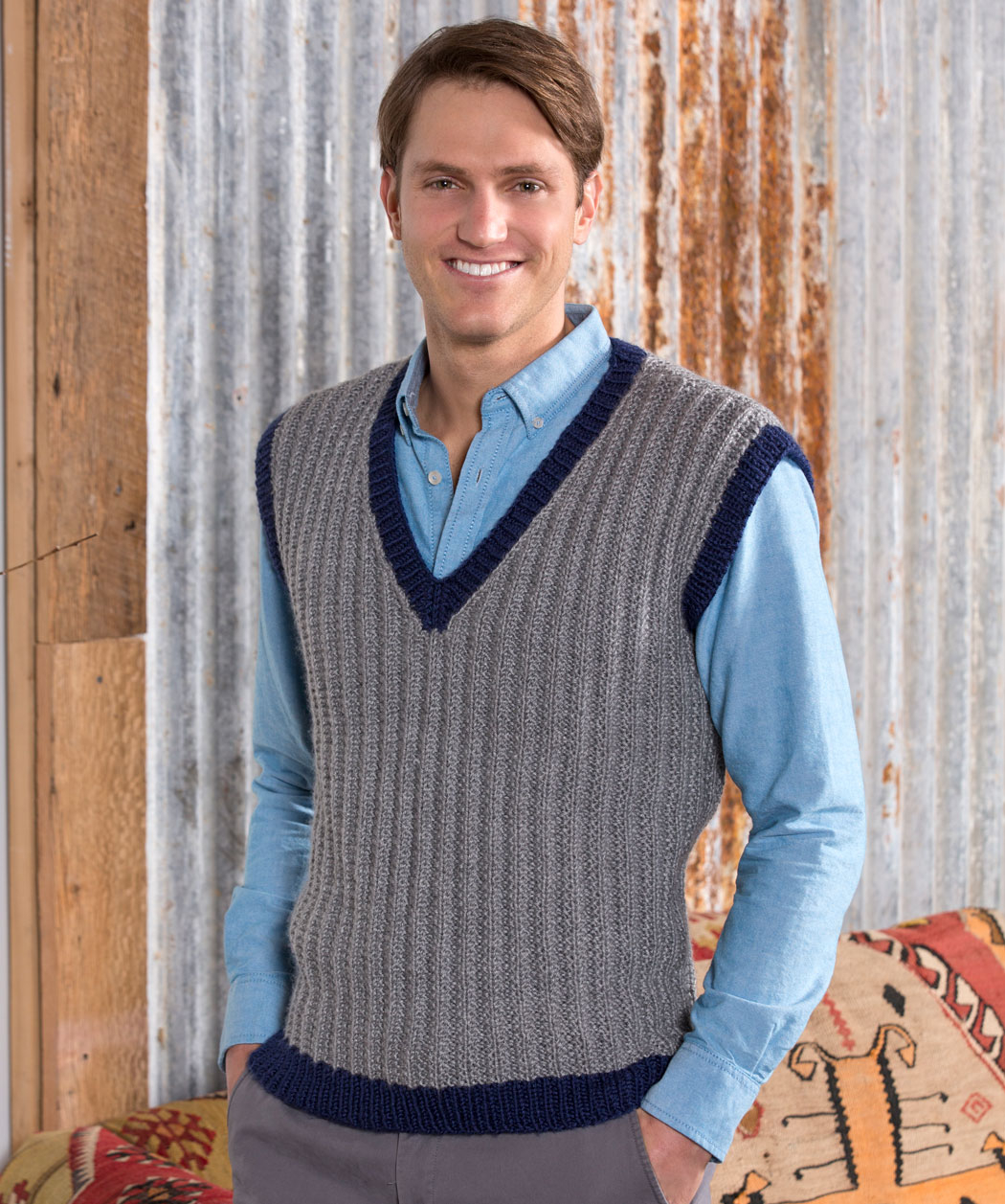 Free Knitting Patterns For Men's Sweaters 36 Knit And Crochet Patterns For Men Red Heart