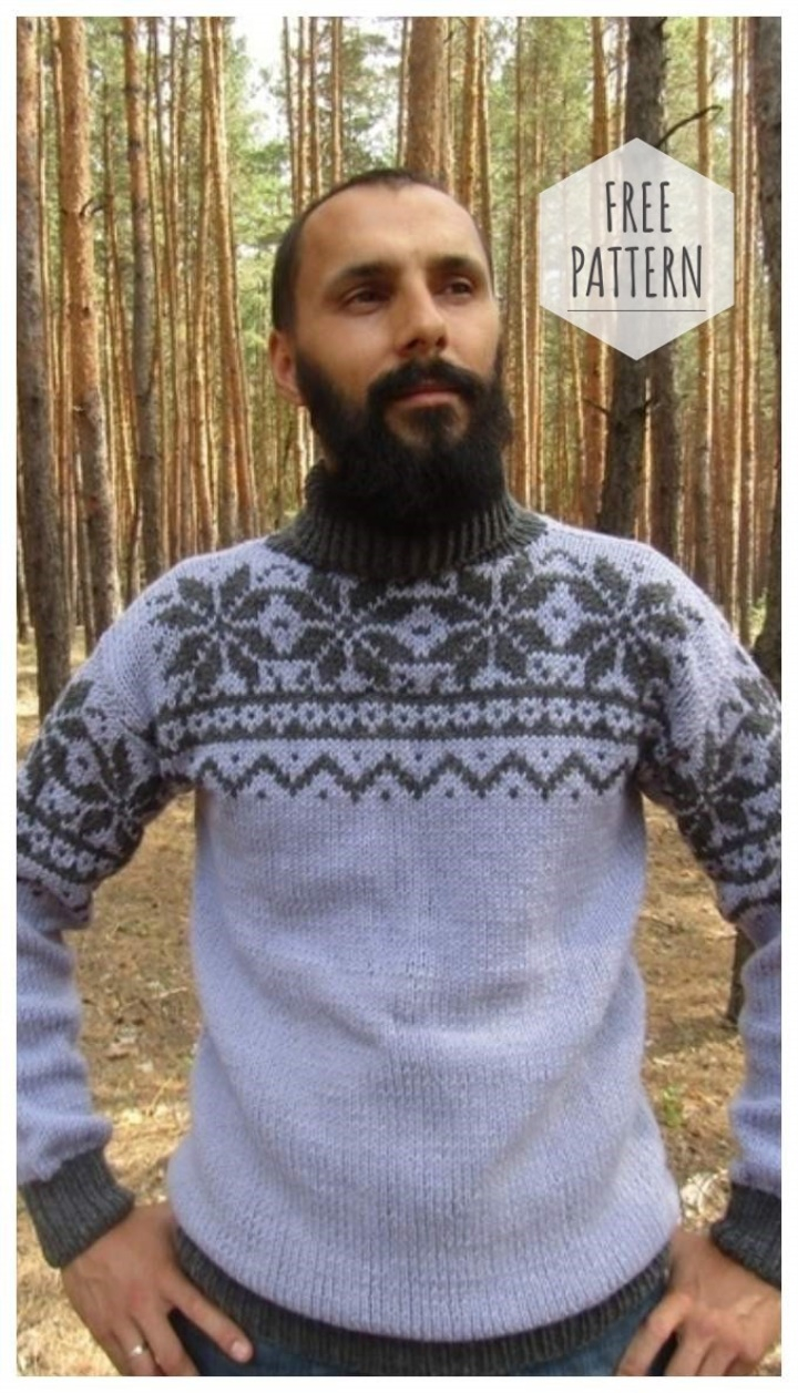Free Knitting Patterns For Men's Sweaters Mens Jacquard Sweater With Knitting Pattern