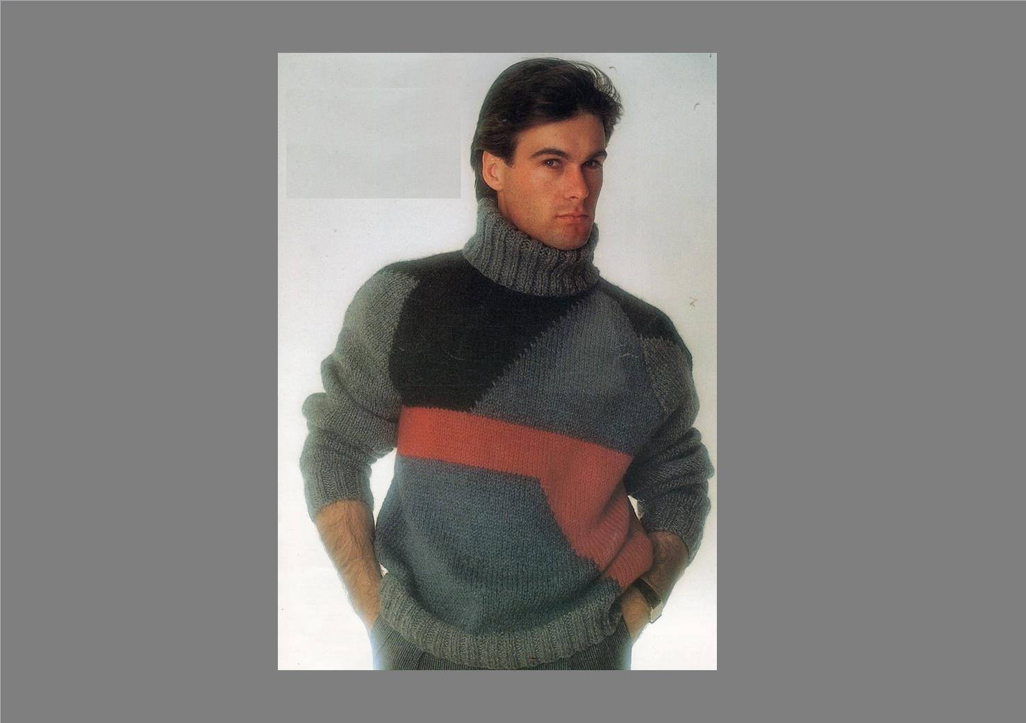 Free Knitting Patterns For Men's Sweaters Pdf Mens Sweater Pattern Patchwork Sweater Bulky Knit Sweater Vintage Knitting Pattern Pdf Pattern Post Free Knitting Pattern