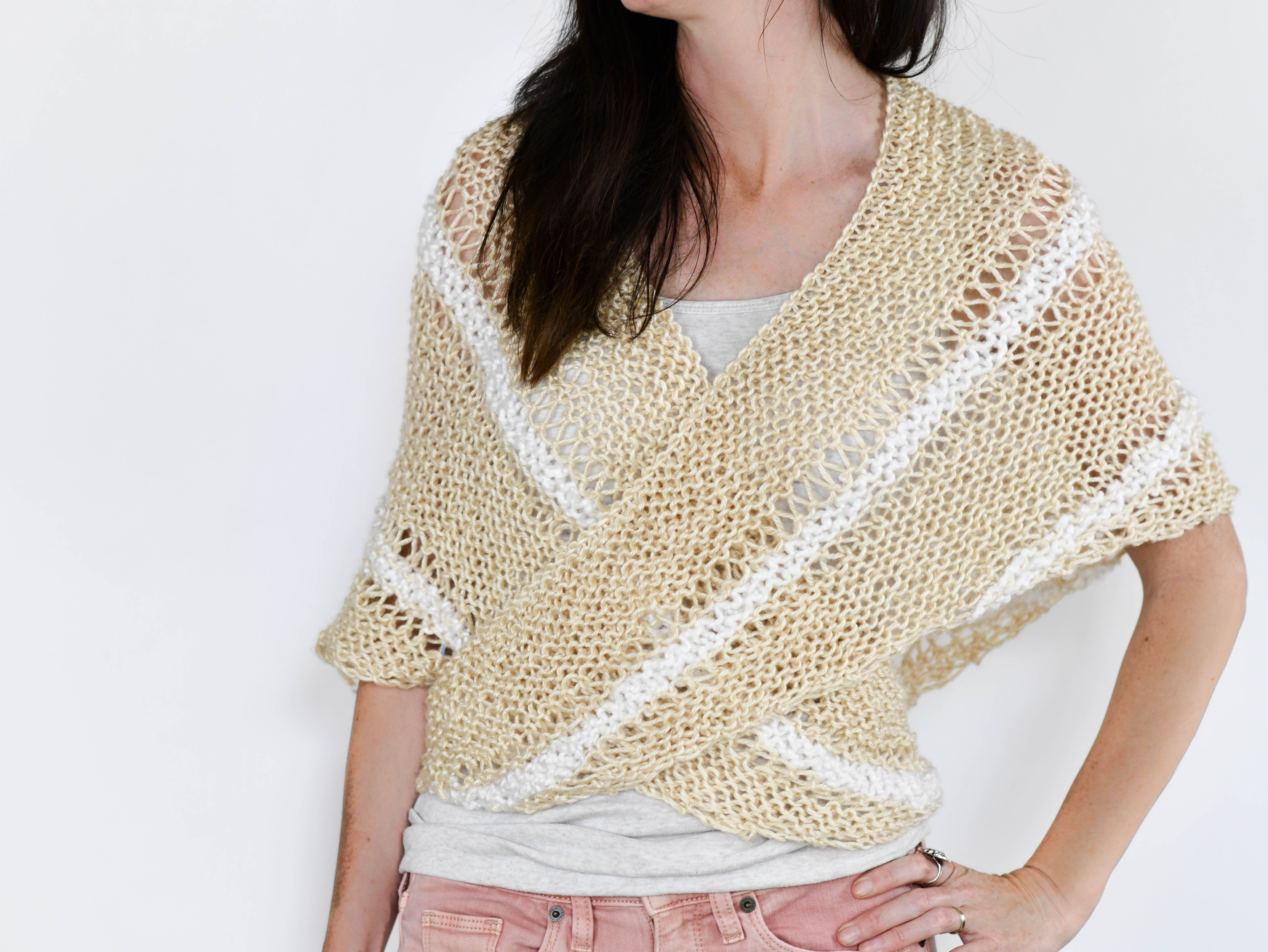 Free Knitting Patterns For Shrugs And Wraps Triangle Wrap Top Free Knitting Pattern Mama In A Stitch