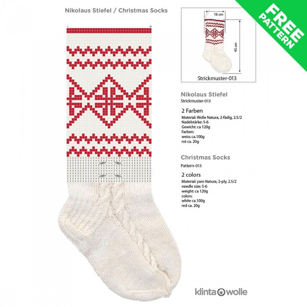 Free Knitting Patterns For Socks On Four Needles Patterned Christmas Stocking Free Knitting Pattern 13 Easy Level