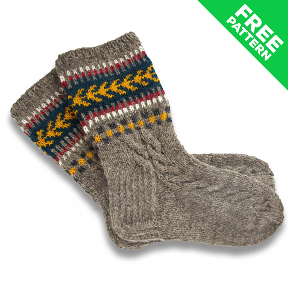 Free Knitting Patterns For Socks On Four Needles Patterned Wool Socks Fir Needle Knitting Pattern Free Pdf