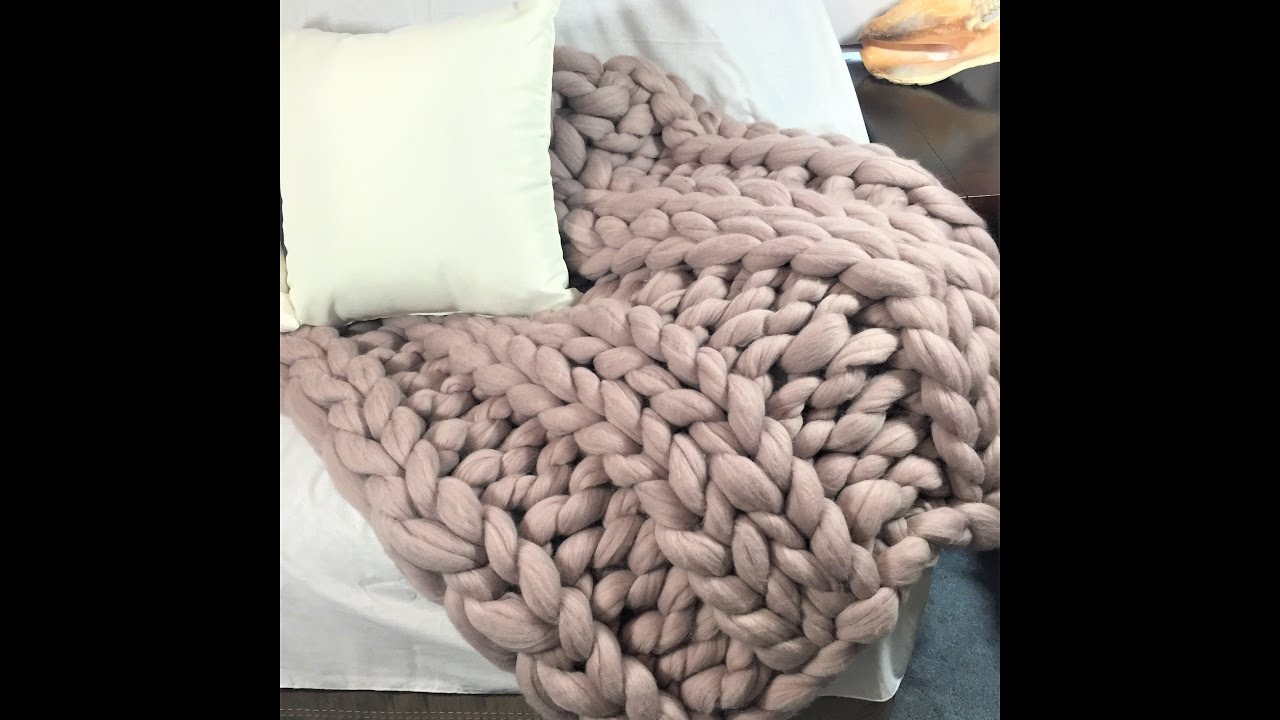 Free Knitting Patterns For Super Chunky Yarn How To Arm Knithand Knit A Super Chunky Merino Wool Blanket Ribbing Knitting With Becozi