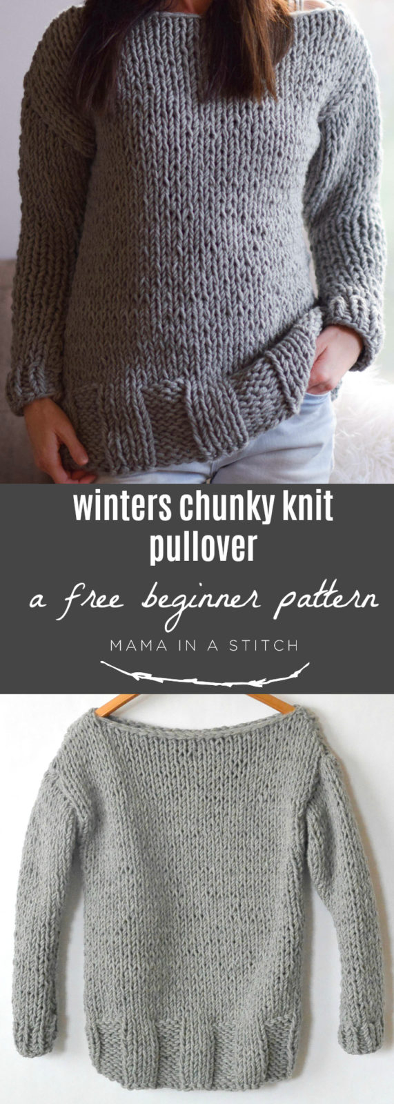 Free Knitting Patterns For Super Chunky Yarn Winters Chunky Easy Knit Pullover Pattern Mama In A Stitch