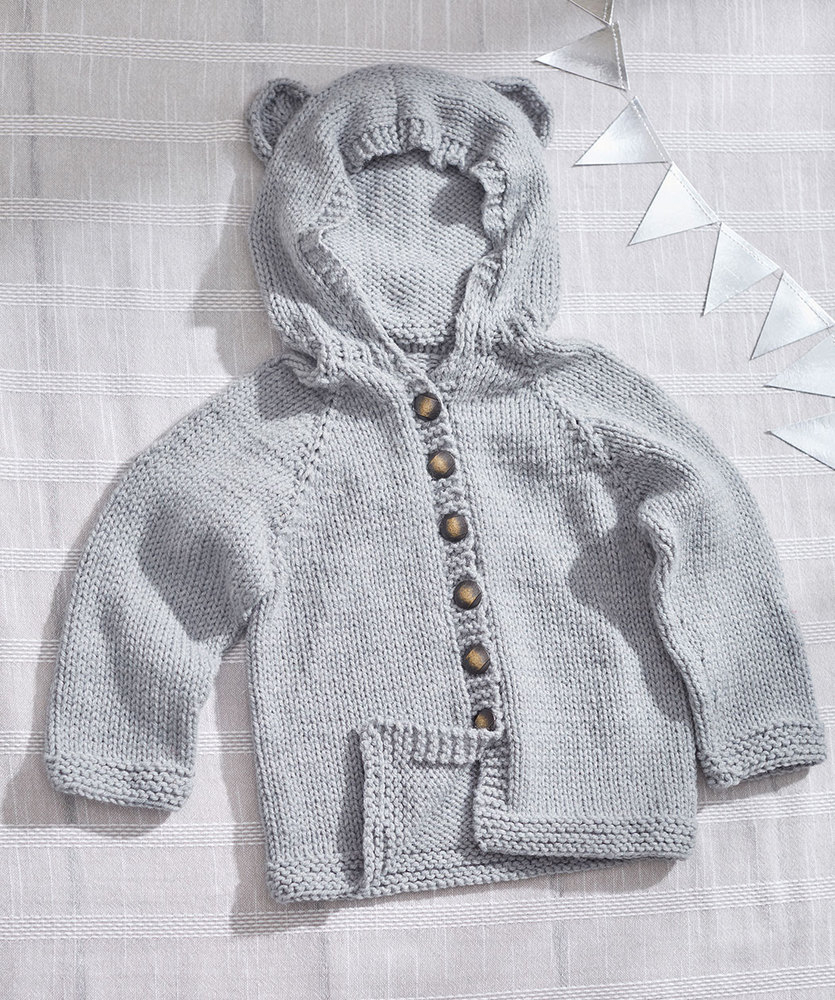 Free Knitting Patterns For Sweater Coats Ba Bear Knit Hoodie Red Heart