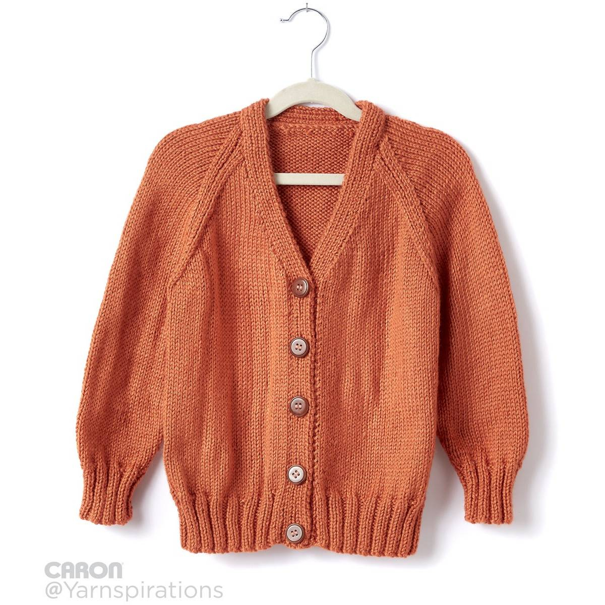 Free Knitting Patterns For Sweater Coats Free Pattern Caron Childs Knit V Neck Cardigan Hobcraft