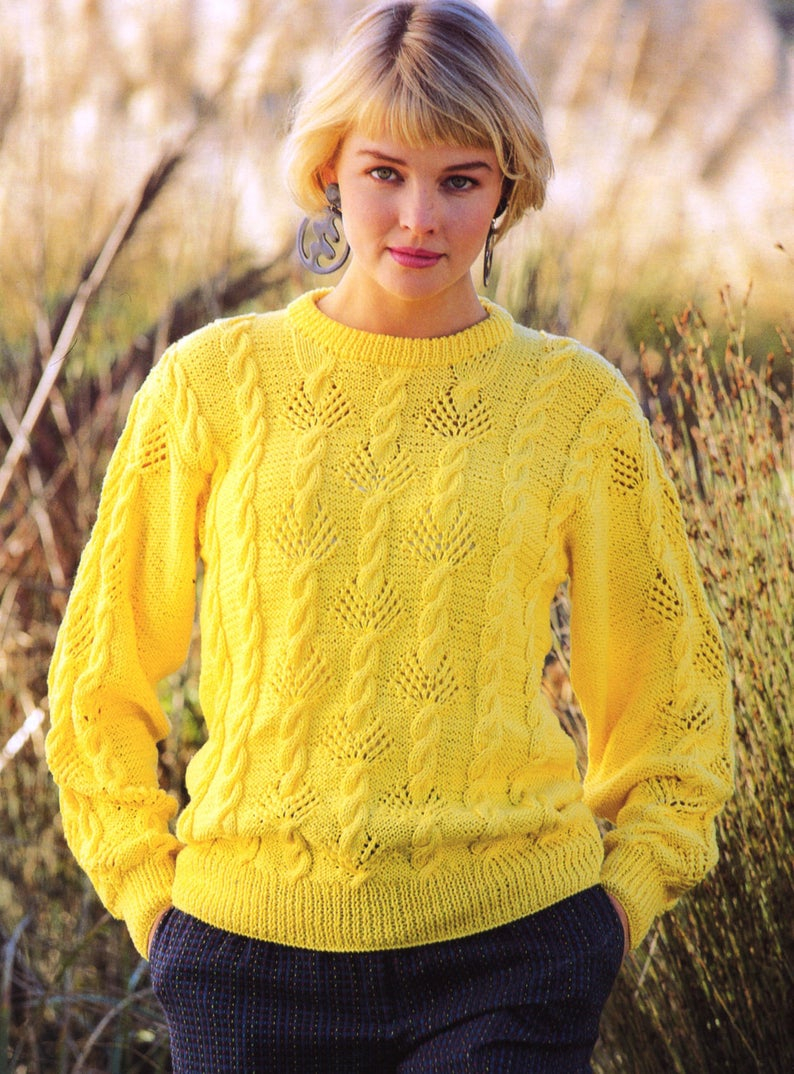 Free Knitting Patterns For Sweater Coats Pdf Knitting Pattern Womens Cable And Fan Lace Sweater Gifts For Her 8ply Sweater Instant Download Pdf Post Free Knitting Pattern