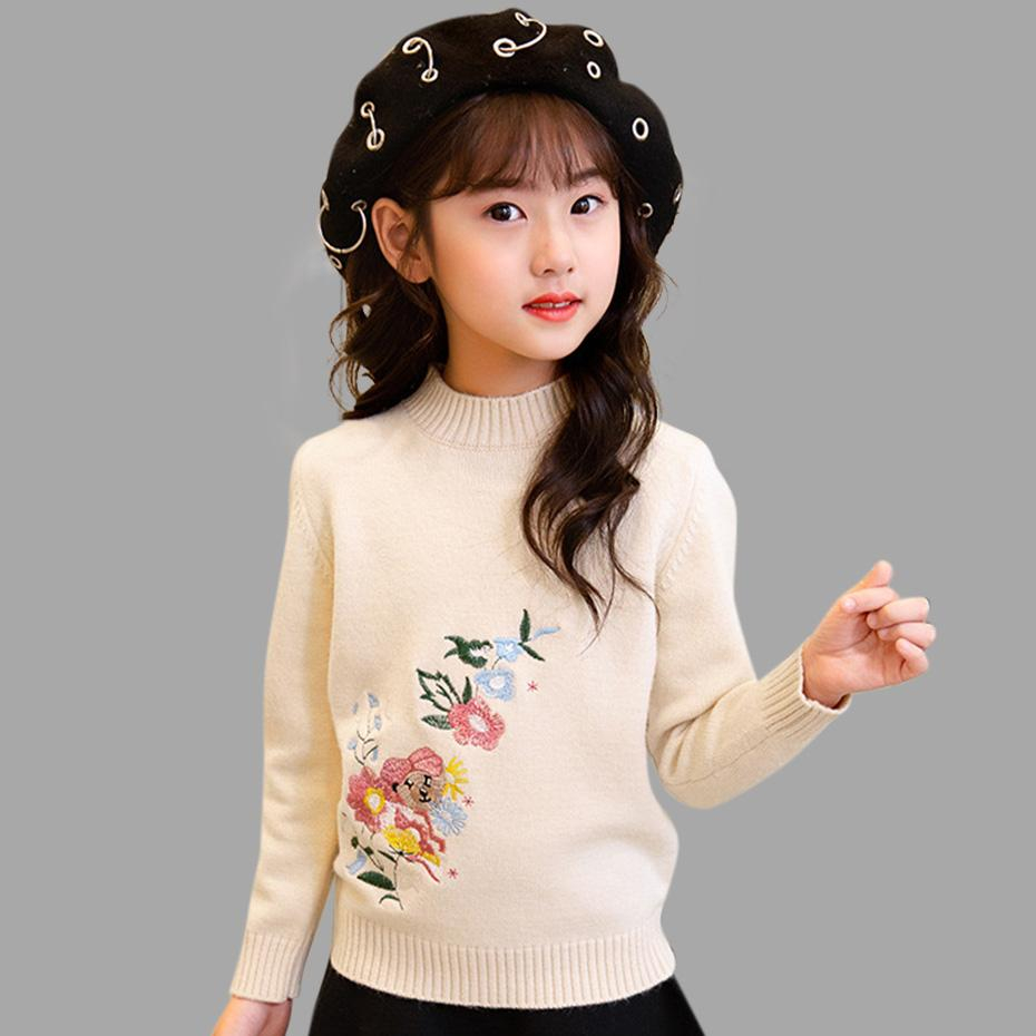 Free Knitting Patterns For Teens Children S Sweater For Girls Autumn Girls Sweater Embroidery Child Top Warm Kids Clothes Teen Spring Girl Clothing 4 14 Year