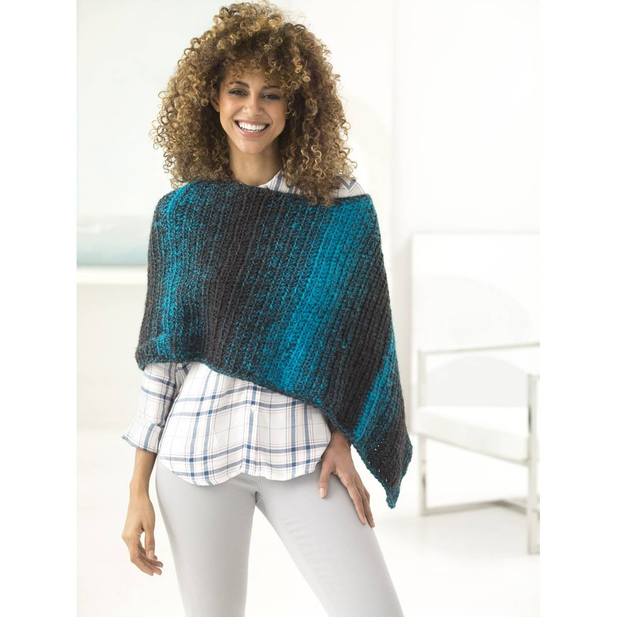 Free Knitting Patterns Poncho Free Pattern Lion Brand Scarfie Two Ball Poncho L60084b Hobcraft