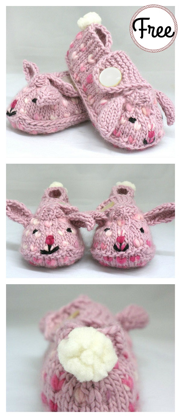 Free Patterns For Knitted Slippers Bunny Hop Thrummed Bunny Slippers Free Knitting Pattern