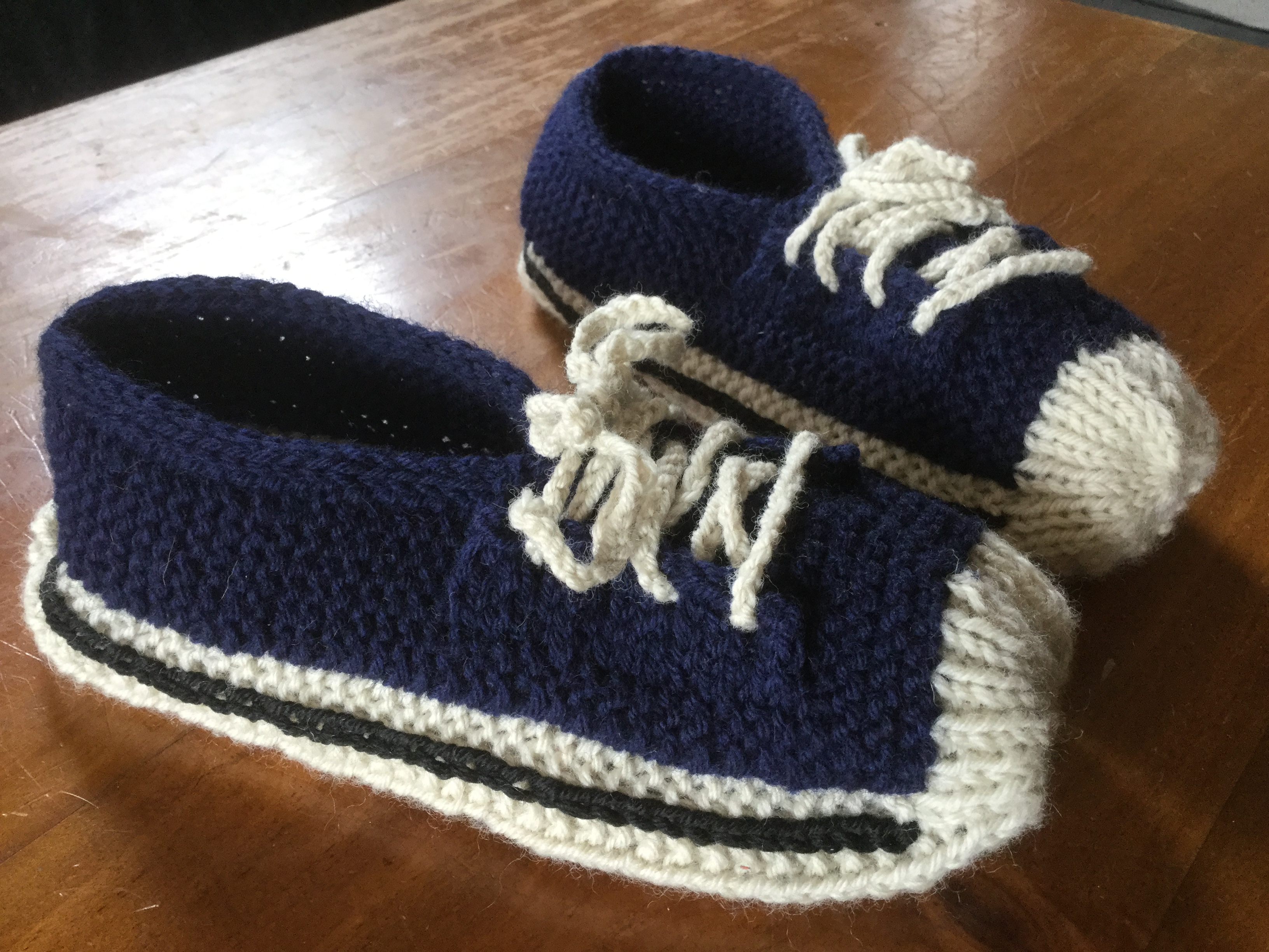 Free Patterns For Knitted Slippers Converse Style Sneaker Slippers Knitting Pattern The Knit Guru