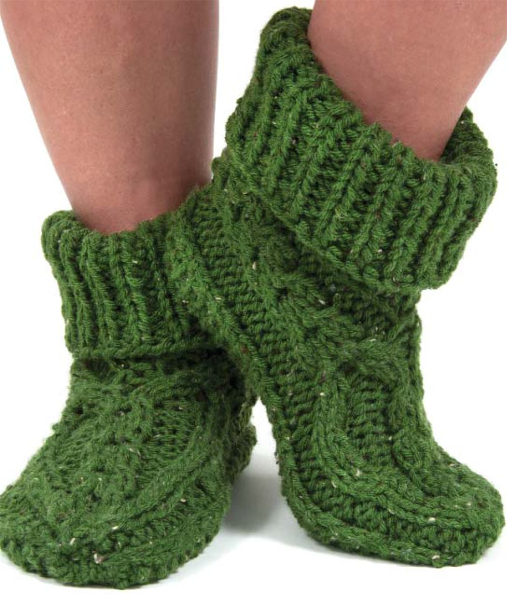 Free Patterns For Knitted Slippers Free Cabled Knit Slippers Pattern