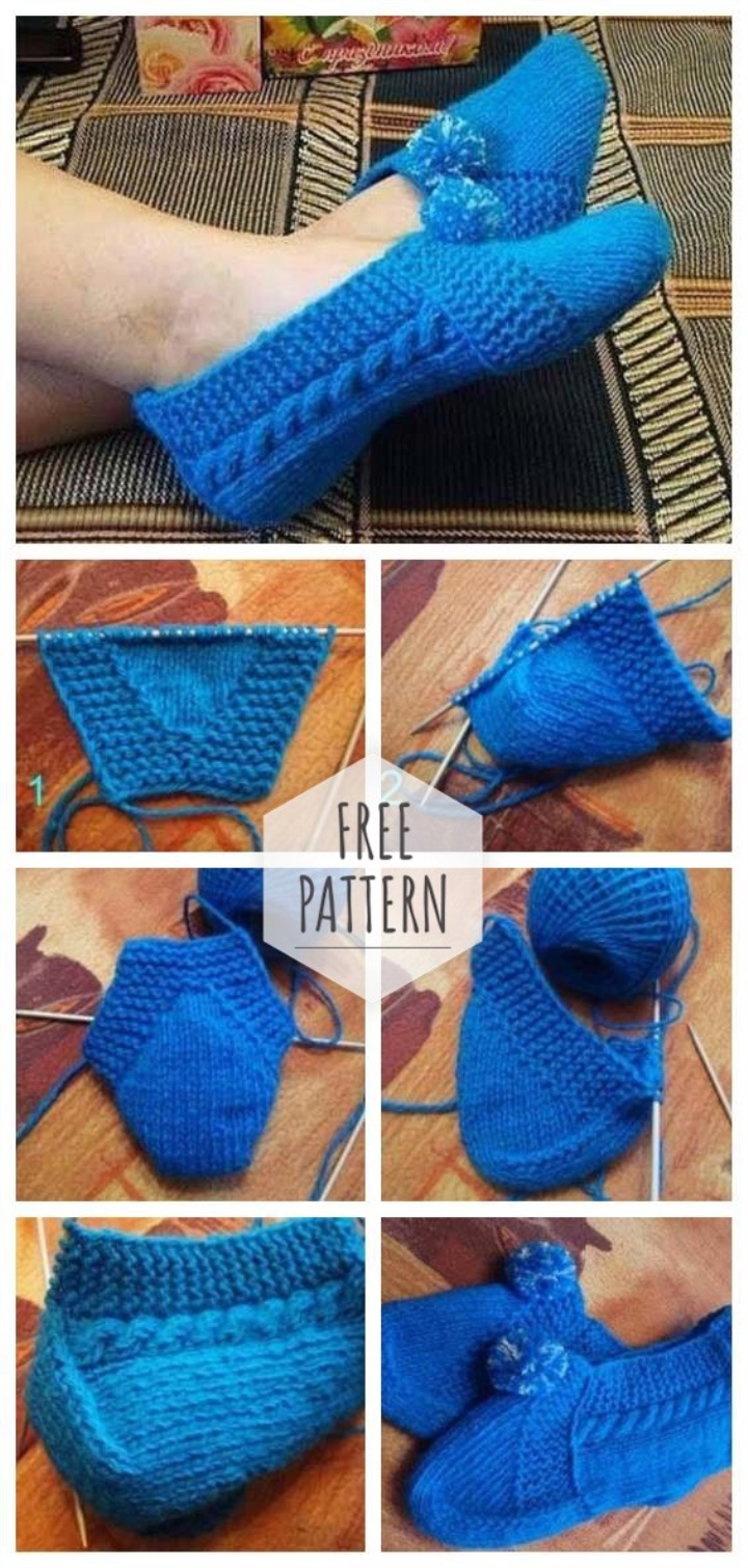 Free Patterns For Knitted Slippers Knit Slippers Without Seams