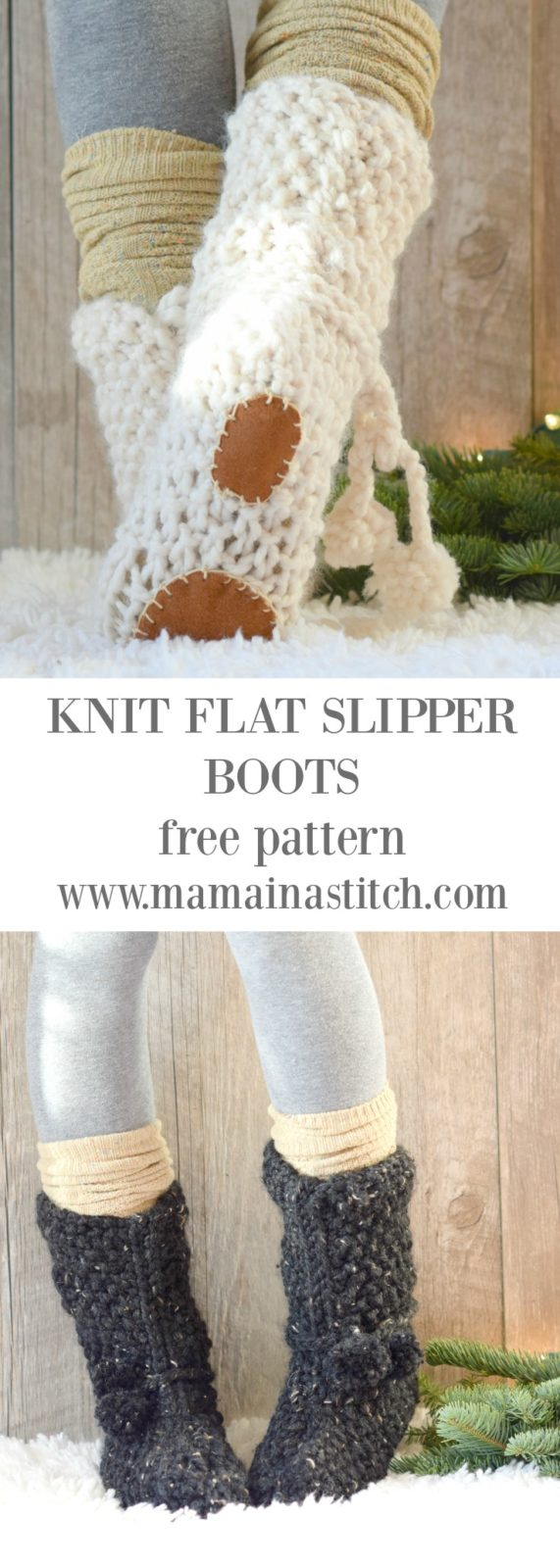 Free Patterns For Knitted Slippers Mountain Chalet Boot Slipper Knitting Pattern Knit Flat Mama In